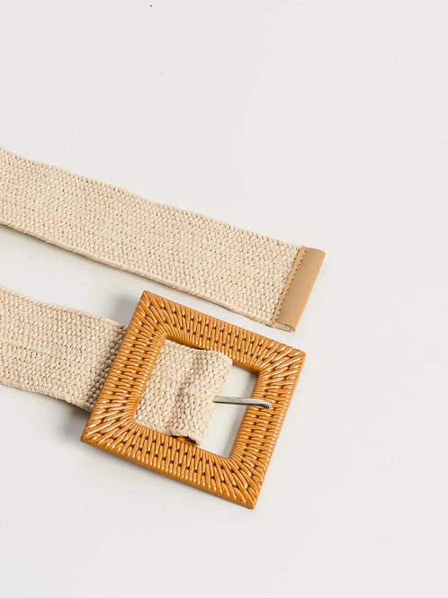 Cintura elastica con fibbia - Beige