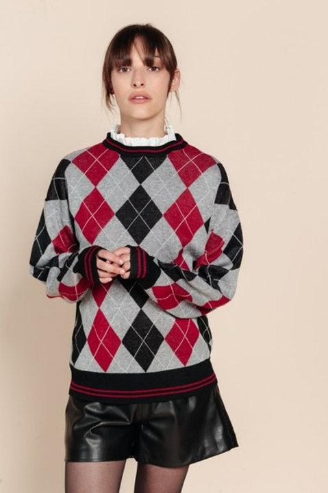 Maglione Rombi con colletto camicia