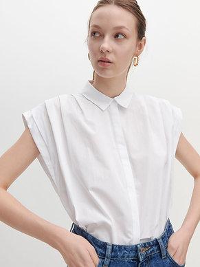 Camicia smanicata con pieghe