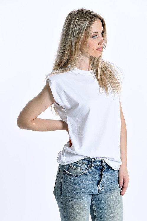T-shirt smanicata con spalline