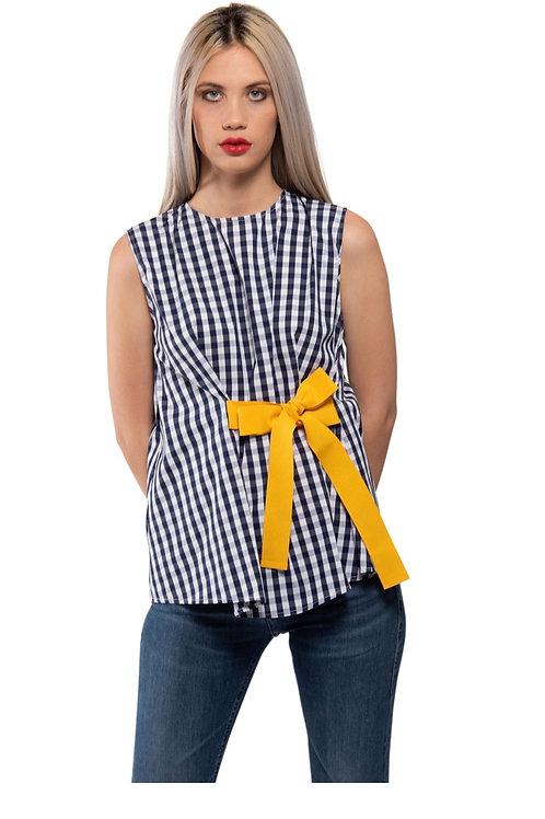 Camicia smanicata Vichy con fiocco