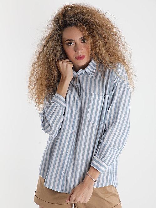 Camicia a righe in misto lino