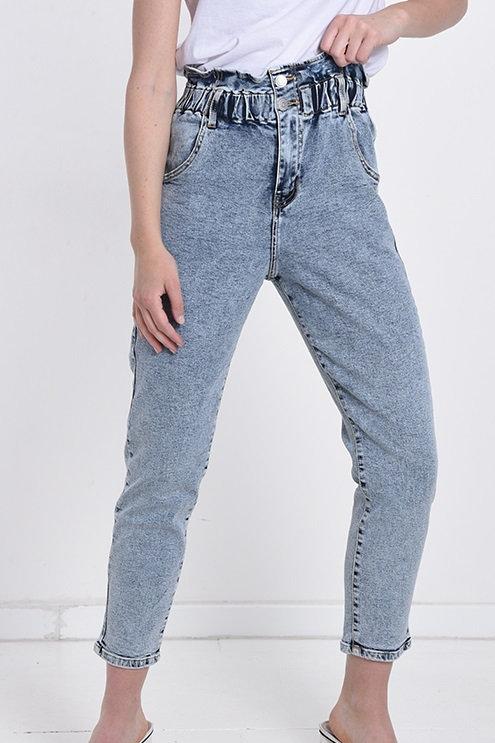 Jeans arricciato lavaggio chiaro