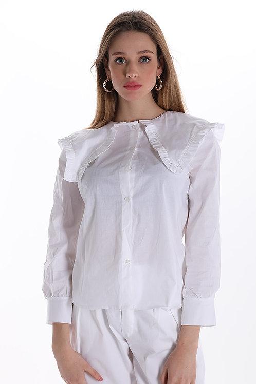 Camicia in cotone maxi collo