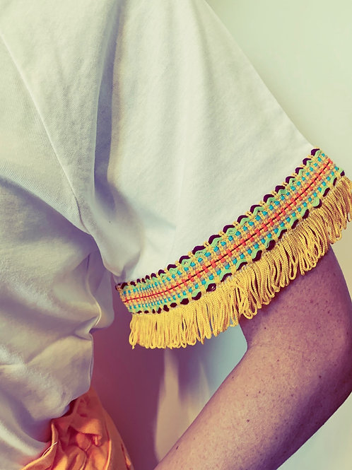 T-shirt ampia con frangine in seta