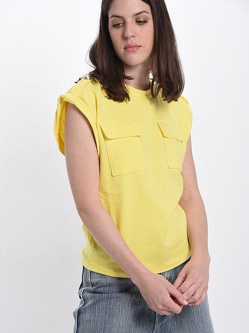 T-shirt con taschini e bottoni GIALLO