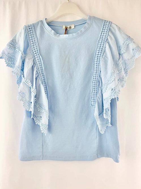T-shirt con manica volant sangallo Azzurro