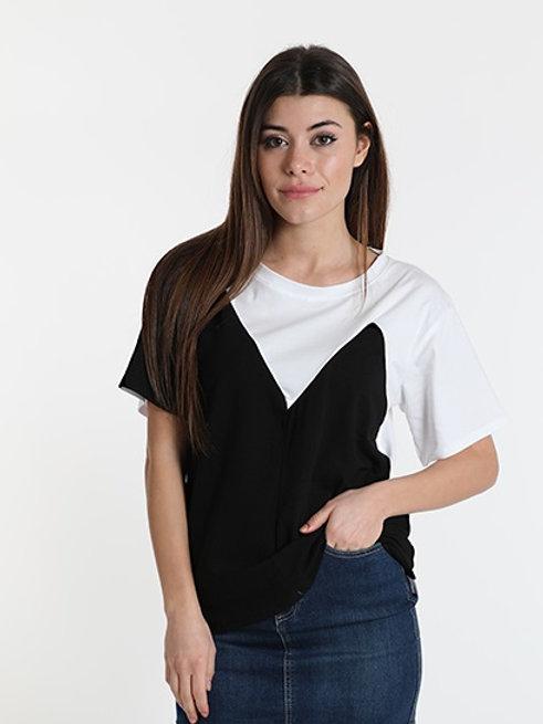 T-shirt stampata corpetto bicolore