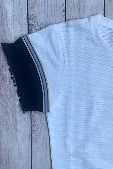 T-shirt in cotone traforato con nastri