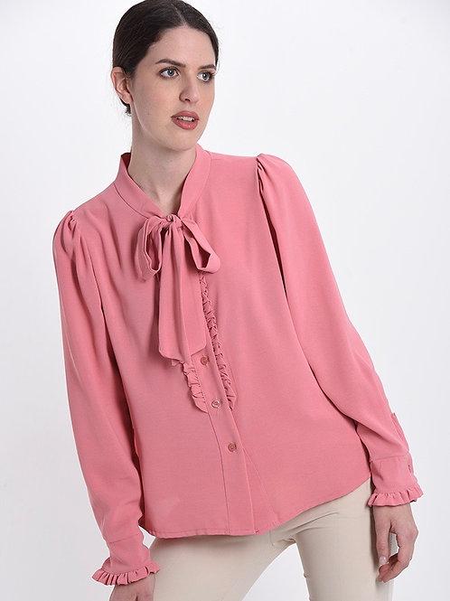 Camicia in viscosa con rouches e fiocco