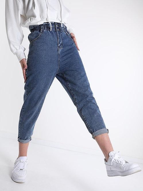 Jeans arricciato con bottoni