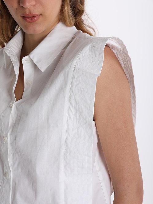 Camicia con aletta laterale larga BIANCO