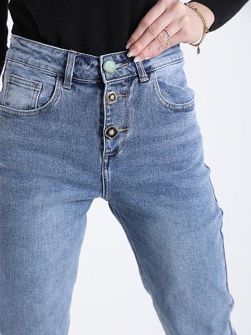 Jeans elasticizzato con bottoni gioiello