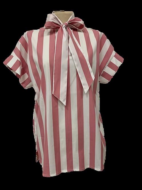 Camicia con fiocco a Righe