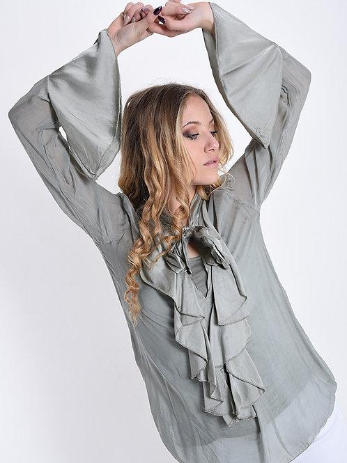 Camicia in seta con volant