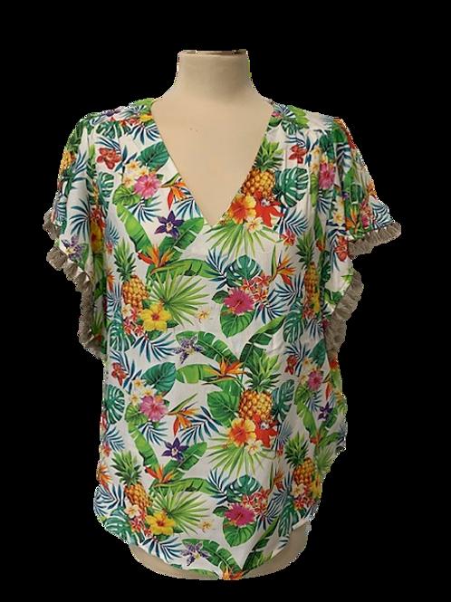 Camicia stampa Hawaii e nappine