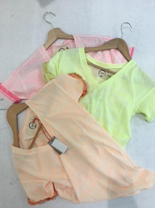 T-shirt in cotone fiammato fluo