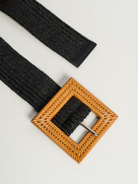 Cintura elastica con fibbia - Nero