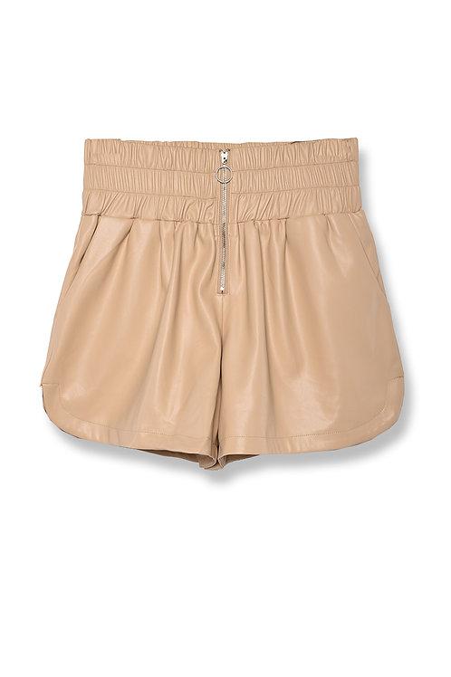 Pantaloncino short ecopelle BEIGE