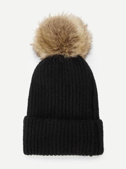 Cappellino cuffia a coste PomPom