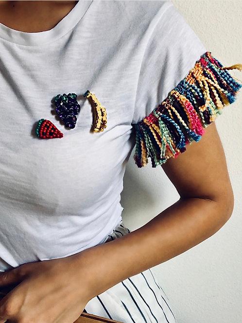T-shirt con applicazioni frutta