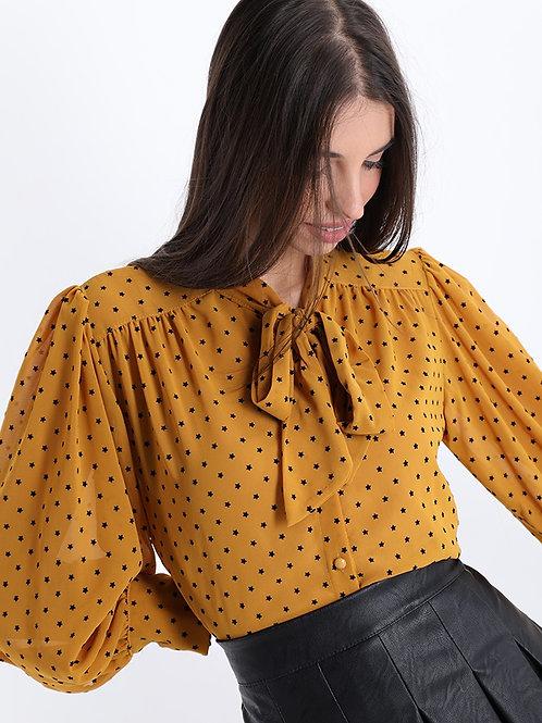 Blusa con fiocco stampata Stelle