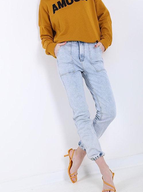 Jeans lavaggio chiaro con tasche