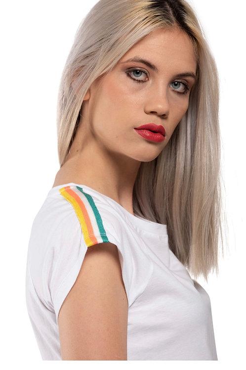 T-shirt girocollo con spallina Nastro