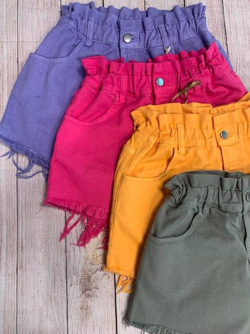 Shorts in denim colorato
