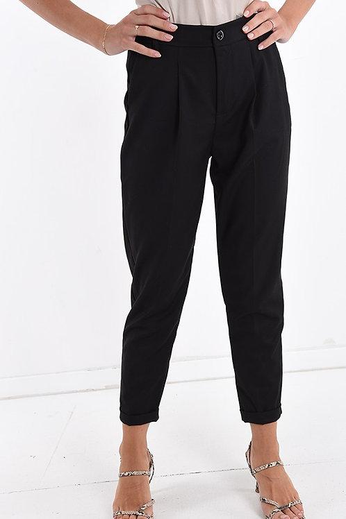 Pantalone chino con pinces e vita elastica