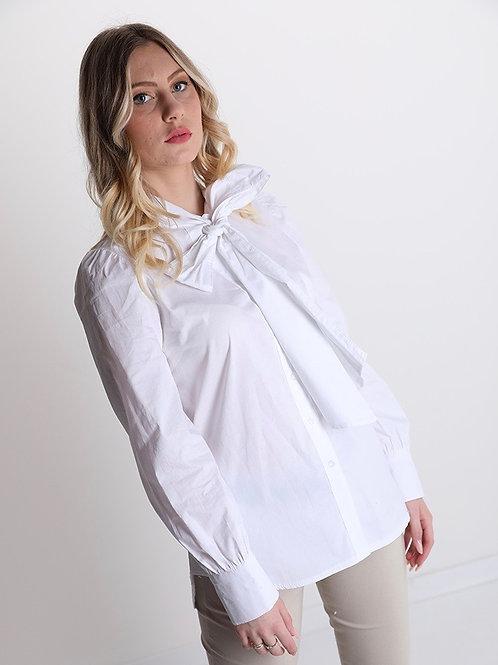 Camicia bianca in cotone con fiocco