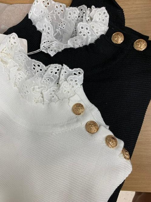 Maglione a costine con collo camicia