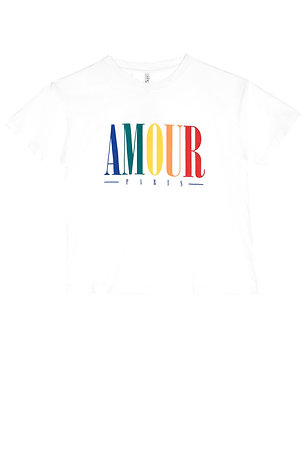 T-shirt bianca con stampa Amour