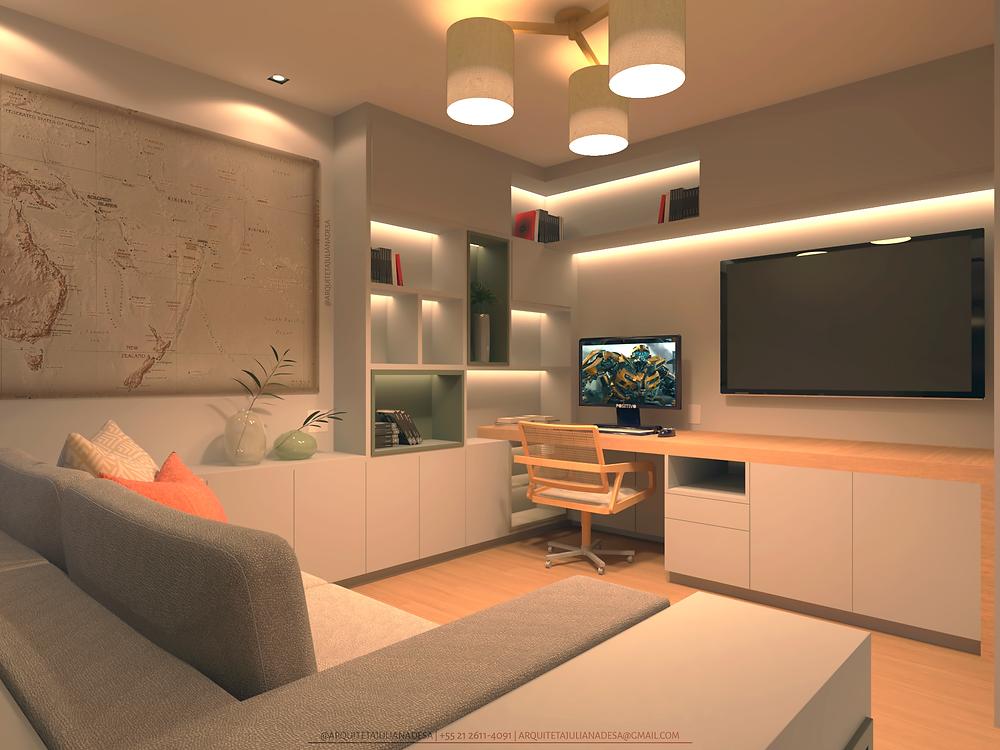 A marcenaria planejada facilita a limpeza e organização do home office, a paleta de cores e a iluminação favorecem a produtividade durante as horas de trabalho.