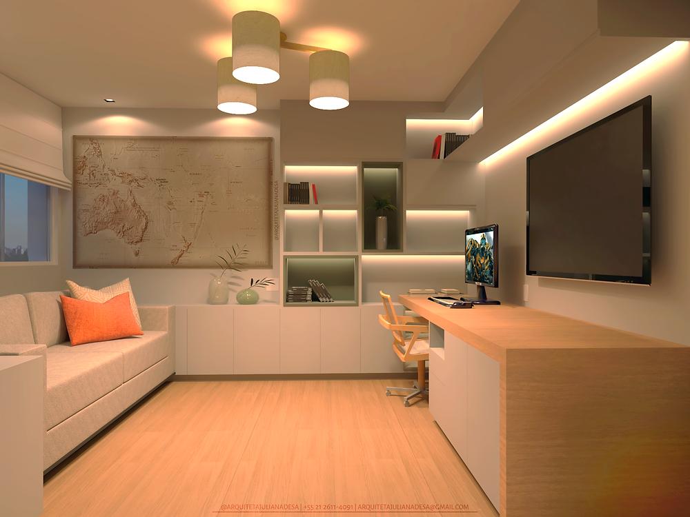 Home office projetado para garantir conforto e funcionalidade aos usuários.