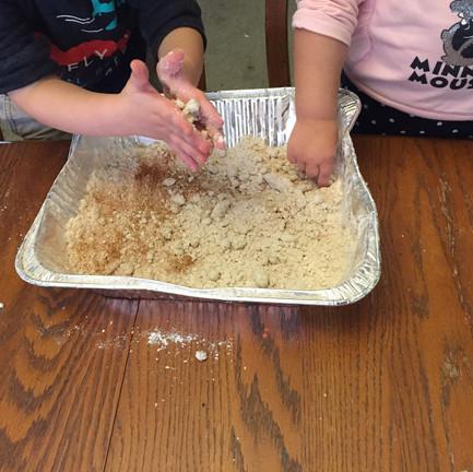 Moon dough, like play dough but softer.