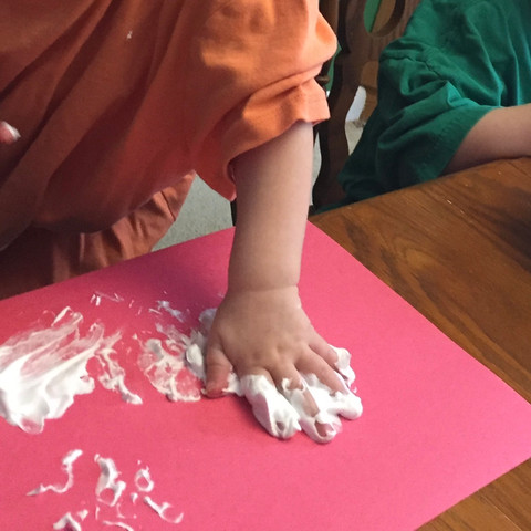 Painting with puffy paint, equals painting and sensory play all in one!