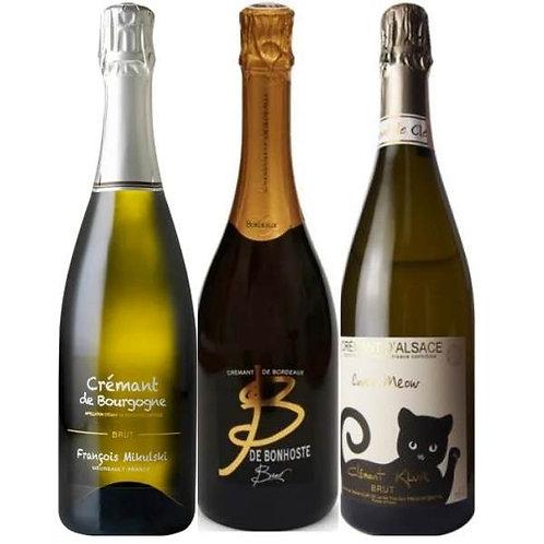 Crémant Tasting Pack of 3 (Alsace, Bourgogne, Bordeaux)