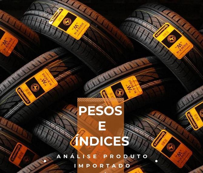 Pesos e índices: Pneus.