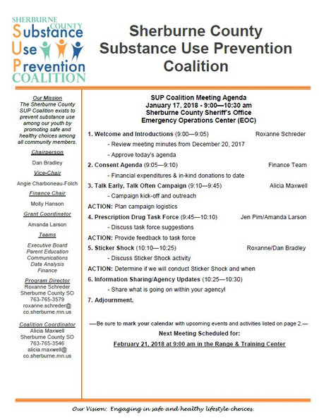 January SUP Coalition Meeting Agenda - Join Us!