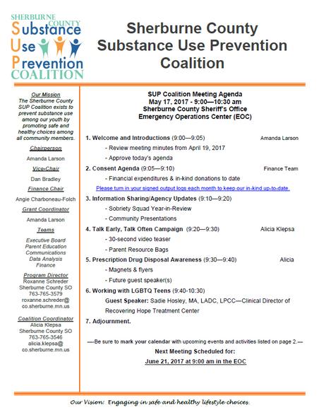 SUP Coalition May Meeting Agenda