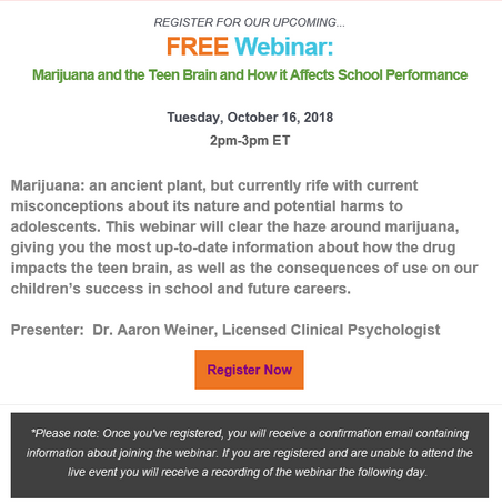 FREE Webinar: Marijuana and the Teen Brain and How it Affects School Performance