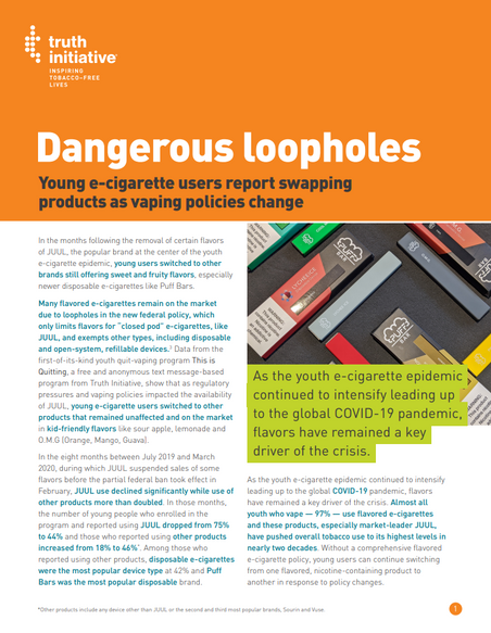 Dangerous Loopholes: Young E-cigarette Users Report Swapping Products as Vaping Policies Change