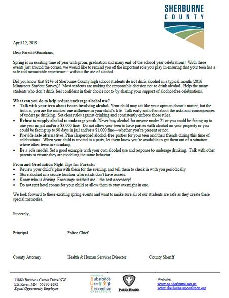 Sherburne County Prom Letter