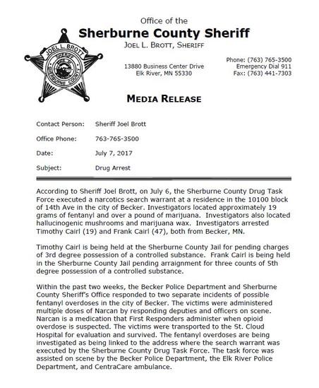 Sherburne County Drug Arrest - July 7, 2017