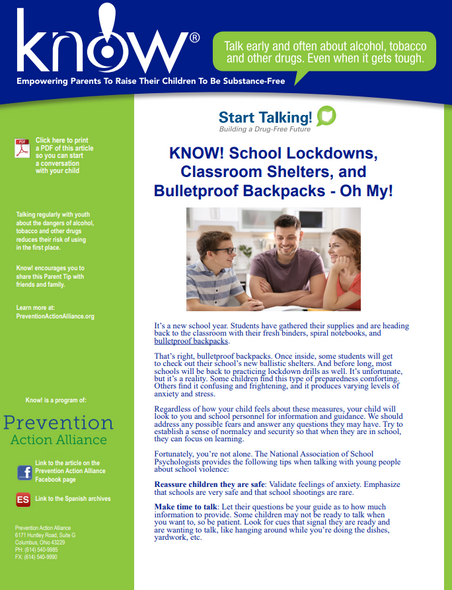 School Lock-downs,Classroom Shelters, and Bulletproof Backpacks - Oh My!