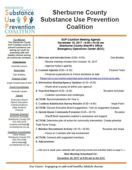 November SUP Coalition Meeting Agenda - Join Us!
