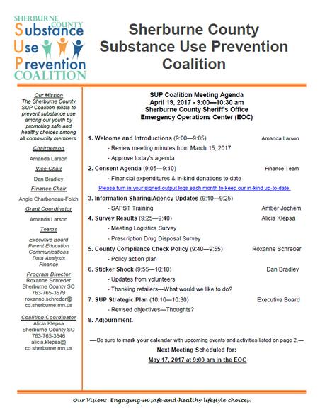 SUP Coalition April Meeting Agenda