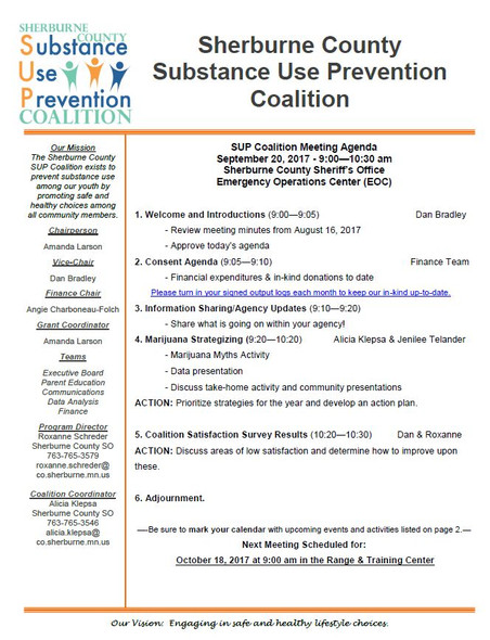 September SUP Coalition Meeting Agenda