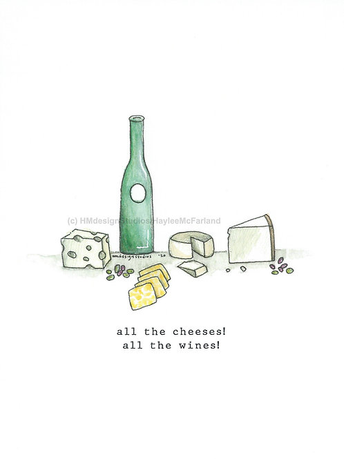 Wines and Cheeses Greeting Cards, Watercolor and Pen & Ink by Haylee McFarland